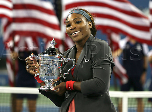 08.09.2013 New York, America. Serena Williams USA after victory over Victoria Azarenka at the womens US Open final at Flushing Meadows.