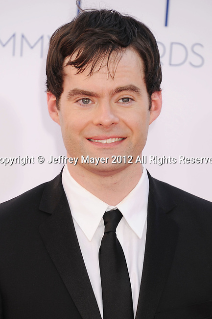 LOS ANGELES, CA - SEPTEMBER 23: Bill Hader  arrives at the 64th Primetime Emmy Awards at Nokia Theatre L.A. Live on September 23, 2012 in Los Angeles, California.