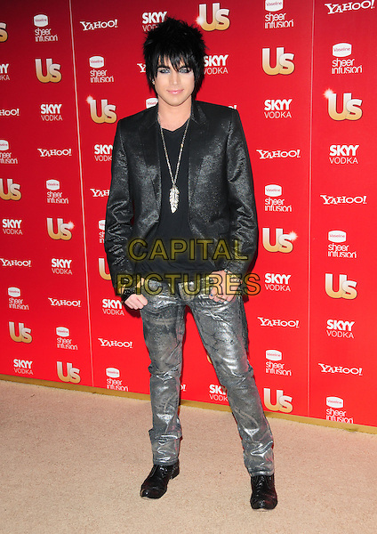 ADAM LAMBERT                   .US Weekly's Hot Hollywood Party 2009 held at Voyeur, West Hollywood, California, USA. .November 18th, 2009.full length black jacket silver feather necklace silver jeans denim.CAP/RKE/DVS.©DVS/RockinExposures/Capital Pictures.