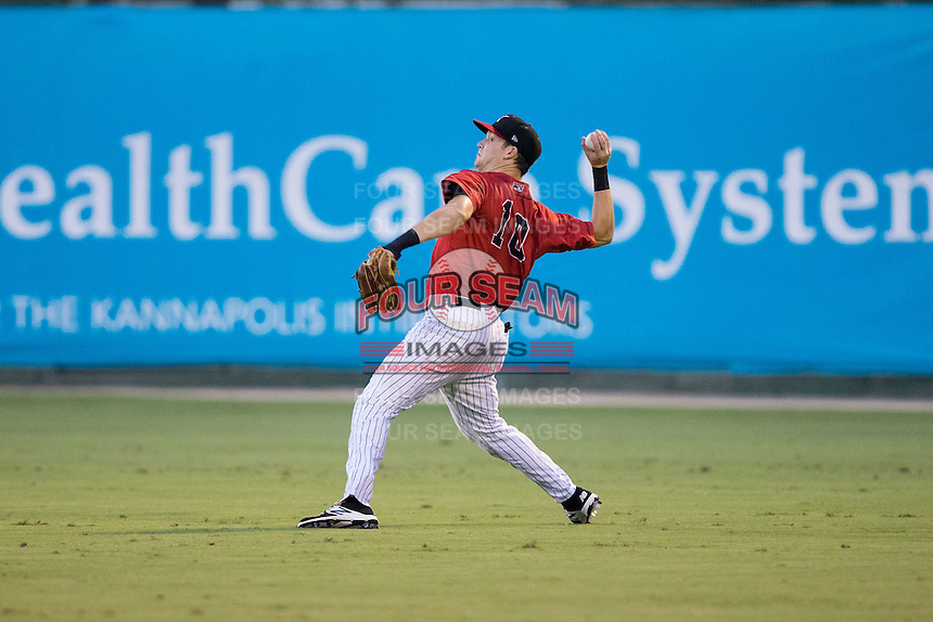 Kannapolis Intimidators right fielder Jake Fincher (10) throws the ball back to the infield during the game against the West Virginia Power at Kannapolis Intimidators Stadium on August 20, 2016 in Kannapolis, North Carolina.  The Intimidators defeated the Power 4-0.  (Brian Westerholt/Four Seam Images)