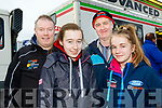 L-R James, Katelyn&Sophie Harrington with Ger O'Donovan at the service area of  the Rentakil Initial sponsored Killarney Historics car rally last Saturday.