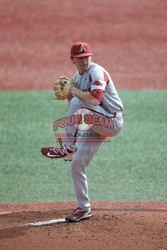 Arkansas Razorbacks starting pitcher Barrett Loseke (46) in action against the Charlotte 49ers at Hayes Stadium on March 21, 2018 in Charlotte, North Carolina.  The 49ers defeated the Razorbacks 6-3.  (Brian Westerholt/Four Seam Images)