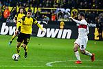 09.03.2019, Signal Iduna Park, Dortmund, GER, 1.FBL, Borussia Dortmund vs VfB Stuttgart, DFL REGULATIONS PROHIBIT ANY USE OF PHOTOGRAPHS AS IMAGE SEQUENCES AND/OR QUASI-VIDEO<br /> <br /> im Bild   picture shows:<br /> Torschuss Christian Pulisic (Borussia Dortmund #22) mit Gonzalo Castro (VfB Stuttgart #8), <br /> <br /> Foto &copy; nordphoto / Rauch