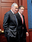 Governor Andrew Cuomo (Democrat of New York), right, and United States Senator Chuck Schumer (Democrat of New York), left, arrive for a press conference in the U.S. Capitol following a series of meetings with Congressional Leadership on Monday, December 3, 2012..Credit: Ron Sachs / CNP.(RESTRICTION: NO New York or New Jersey Newspapers or newspapers within a 75 mile radius of New York City)