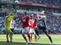 Nottingham Forest's Kapino makes a save from Bolton Wanderers' Aaron Wilbraham<br /> <br /> Photographer Rachel Holborn/CameraSport<br /> <br /> The EFL Sky Bet Championship - Bolton Wanderers v Nottingham Forest - Sunday 6th May 2018 - Macron Stadium - Bolton<br /> <br /> World Copyright &copy; 2018 CameraSport. All rights reserved. 43 Linden Ave. Countesthorpe. Leicester. England. LE8 5PG - Tel: +44 (0) 116 277 4147 - admin@camerasport.com - www.camerasport.com
