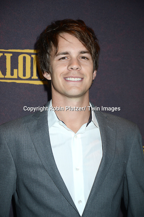 """Johnny Simmons attends the premiere of Discovery Channel's first scripted series  """" Klondike"""" on January 16, 2014 at Best Buy Theater in New York City. The series will run on January 20, 21 and 22, 2014."""