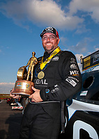 Sep 29, 2019; Madison, IL, USA; NHRA funny car driver Shawn Langdon celebrates after winning the Midwest Nationals at World Wide Technology Raceway. Mandatory Credit: Mark J. Rebilas-USA TODAY Sports