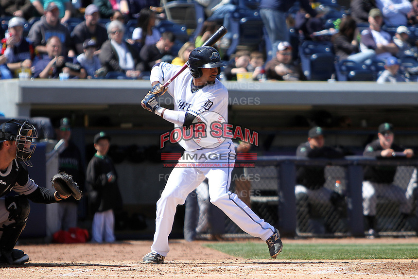 West Michigan Whitecaps outfielder Derek Hill (21) at bat during a game against the Dayton Dragons on April 11, 2015 at Fifth Third Ballpark in Comstock Park, Michigan.  (Emily Jones/Four Seam Images)