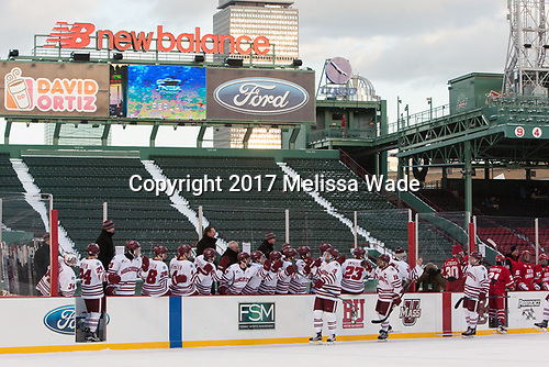 Ray Pigozzi (UMass - 15), Steven Iacobellis (UMass - 16), Jake Horton (UMass - 8) - The Boston University Terriers defeated the University of Massachusetts Minutemen 5-3 on Sunday, January 8, 2017, at Fenway Park in Boston, Massachusetts.The Boston University Terriers defeated the University of Massachusetts Minutemen 5-3 on Sunday, January 8, 2017, at Fenway Park.