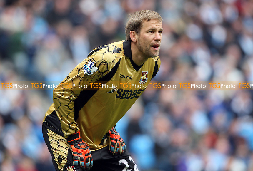 Jussi Jaaskelainen of West Ham - Manchester City vs West Ham United, Barclays Premier League at the Etihad Stadium, Manchester - 27/04/13 - MANDATORY CREDIT: Rob Newell/TGSPHOTO - Self billing applies where appropriate - 0845 094 6026 - contact@tgsphoto.co.uk - NO UNPAID USE.