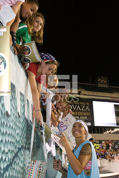 United States (USA) forward Natasha Kai (6) poses for a photo after the game. The United States Women's National Team (USA) defeated the Republic of Ireland (IRL) 2-0 during an international friendly at Lincoln Financial Field in Philadelphia, PA, on September 13, 2008.