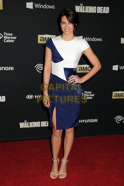 Lauren Cohan<br /> &quot;The Walking Dead&quot; 4th Season Premiere held at the AMC Universal Citywalk Stadium 19 Theatre, Universal City, California, USA, <br /> 3rd October 2013.<br /> full length white blue dress hand on hip slit split <br /> CAP/ADM/BP<br /> &copy;Byron Purvis/AdMedia/Capital Pictures