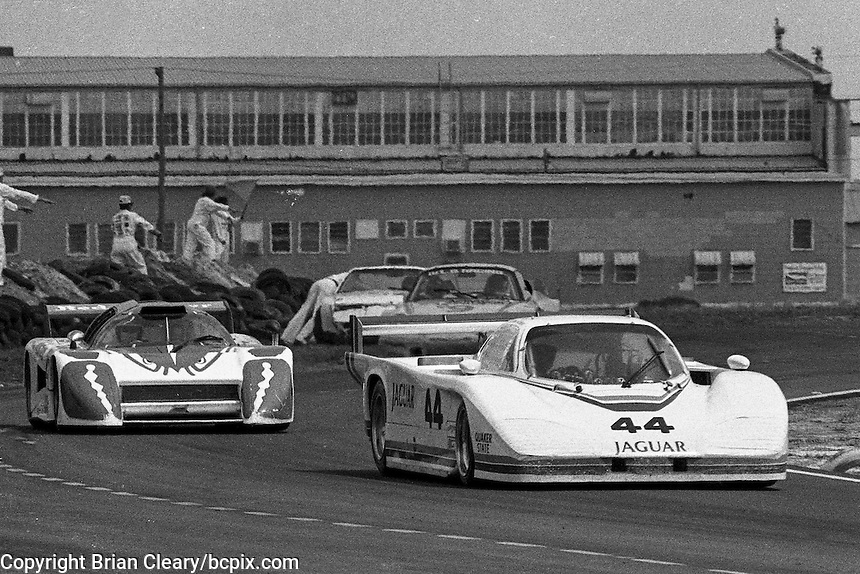 #44 Jaguar XJR-5 of  Patrick Bedard, Bill Adam, and Bob Tullius  (58th place) and #25 March 82G of Dave Cowart, Kenper Miller, and Maurico DeNarvaez (75th place) 12 Hours or Sebring, Sebring International Raceway, Sebring, FL, March 19, 1983.  (Photo by Brian Cleary/bcpix.com)