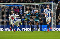 West Bromwich Albion's Kyle Edwards (centre) tries to shield himself from Brighton & Hove Albion's Yves Bissouma (left) volley<br /> <br /> Photographer David Horton/CameraSport<br /> <br /> Emirates FA Cup Fourth Round - Brighton and Hove Albion v West Bromwich Albion - Saturday 26th January 2019 - The Amex Stadium - Brighton<br />  <br /> World Copyright © 2019 CameraSport. All rights reserved. 43 Linden Ave. Countesthorpe. Leicester. England. LE8 5PG - Tel: +44 (0) 116 277 4147 - admin@camerasport.com - www.camerasport.com