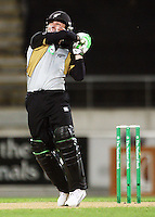NZ's Brendon McCullum hits the winning run during 2nd Twenty20 cricket match match between New Zealand Black Caps and West Indies at Westpac Stadium, Wellington, New Zealand on Friday, 27 February 2009. Photo: Dave Lintott / lintottphoto.co.nz