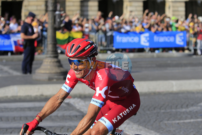 Joaquim &quot;Purito&quot; Rodriguez (ESP) Team Katusha riding his last Tour enters Place de la Concorde ahead of the peloton during Stage 21 of the 2016 Tour de France, running 113km from Chantilly to Paris Champs-Elysees, France. 24th July 2016.<br /> Picture: Eoin Clarke | Newsfile<br /> <br /> <br /> All photos usage must carry mandatory copyright credit (&copy; Newsfile | Eoin Clarke)