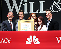 """LOS ANGELES - AUG 2:  Eric Garcetti, Eric McCormack, Debra Messing, Megan Mullally, Sean Hayes at the """"Will & Grace"""" Start of Production Kick Off Event at the Universal Studios on August 2, 2017 in Universal City, CA"""