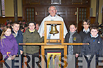 Students from Tralee and Castleisland with the Monsignor O'Riordan and the Eucaristic bell in St Stephen and John's church Castleisland on Friday front row l-r: Catriona Somers, Izaak Reidy-Gilroy,O'Breannin NS, Tralee Meg Cronin, Anna Scanlon, Jack Brosnan-Reidy  Gaelscoil Aogain Castleisland, Brian McHugh O'Breannin NS, Tralee ..