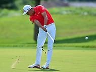 Potomac, MD - June 29, 2017: Rickie Fowler plays his second shot on the 15th hole during Round 1 of professional play at the Quicken Loans National Tournament at TPC Potomac at Avenel Farm in Potomac, MD, June 29, 2017.  (Photo by Don Baxter/Media Images International)