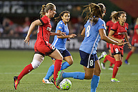 Portland, Oregon - Saturday July 2, 2016: Portland Thorns FC midfielder Amandine Henry (28) controls the ball during a regular season National Women's Soccer League (NWSL) match at Providence Park.