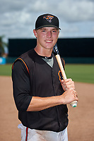 GCL Orioles Gunnar Henderson (9) poses for a photo after a Gulf Coast League game against the GCL Braves on August 5, 2019 at Ed Smith Stadium in Sarasota, Florida.  GCL Orioles defeated the GCL Braves 4-3 in the second game of a doubleheader.  (Mike Janes/Four Seam Images)