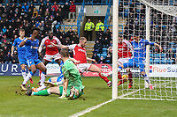 Paddy Madden of Fleetwood Town scores the opening goal of the game during the Sky Bet League 1 match between Gillingham and Fleetwood Town at the MEMS Priestfield Stadium, Gillingham, England on 27 January 2018. Photo by David Horn.