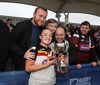 Picture by Paul Currie/SWpix.com - 07/10/2017 - Rugby League - Women's Super League Grand Final - Bradford Bulls v Featherstone Rovers - Regional Arena, Manchester, England - Jess Courtman of Bradford Bulls celebrates with the trophy at the end of the match