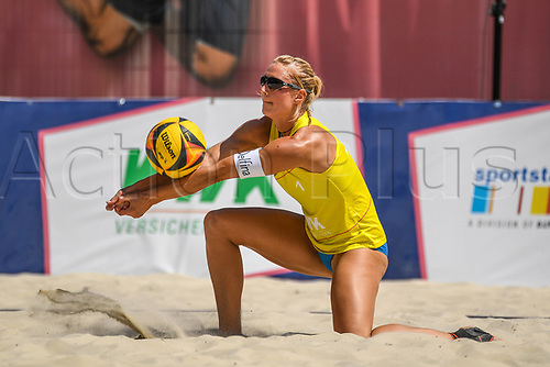 27th June 2020, Dusseldorf, Germany; The German Beach Volleyball League;  Kim Behrens passes to her team mate