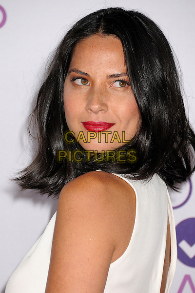 Olivia Munn.People's Choice Awards 2013 - Arrivals held at Nokia Theatre L.A. Live, Los Angeles, California, USA..January 9th, 2013.headshot portrait red lipstick white top sleeveless side.CAP/ADM/BP.©Byron Purvis/AdMedia/Capital Pictures.