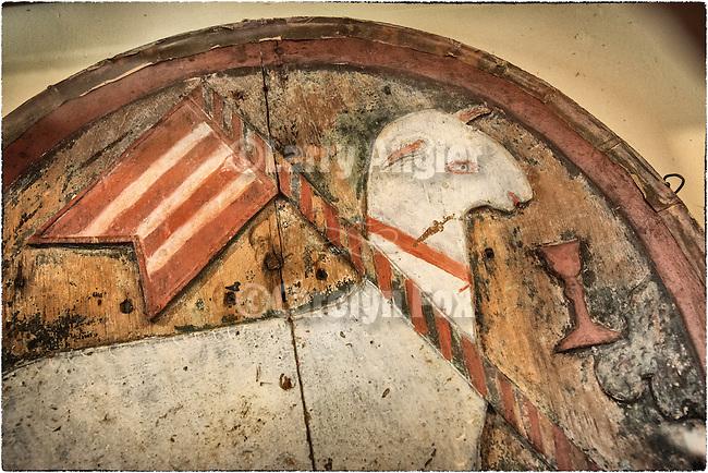 Detail, The Lamb of God painting, Carmel Mission, California.