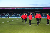 Fleetwood Town team check the pitch before the Sky Bet League 1 match between Rochdale and Fleetwood Town at Spotland Stadium, Rochdale, England on 20 March 2018. Photo by Thomas Gadd.