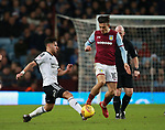 George Baldock of Sheffield Utd tackles Jack Grealish of Aston Villa during the Championship match at Villa Park Stadium, Birmingham. Picture date 23rd December 2017. Picture credit should read: Simon Bellis/Sportimage