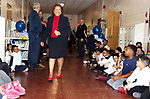 WATERBURY CT. 11 March 2018-031119SV09-Dr. Verna D. Ruffin, Superintendent, visits students during a bus tour to congratulate schools that have shown improvement on their state school accountability reports at Kingsbury School in Waterbury Monday.<br /> Steven Valenti Republican-American