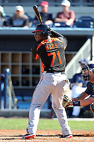 Baltimore Orioles outfielder L.J. Hoes #71 at bat during a spring training game against the Tampa Bay Rays at the Charlotte County Sports Park on March 5, 2012 in Port Charlotte, Florida.  (Mike Janes/Four Seam Images)