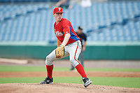 Ryley MacEachern #18 of the Salisbury School in Saugus, Massachusetts playing for the Philadelphia Phillies scout team during the East Coast Pro Showcase at Alliance Bank Stadium on August 1, 2012 in Syracuse, New York.  (Mike Janes/Four Seam Images)