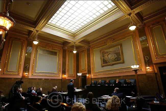 Salt Lake City , UT --2/6/08--.(L-R), Justice Ronald E. Nehring, Judge John Morris, Chief Justice, Christine M. Durham,  Associate Chief Justice Michael J. Wilkins, Justice Jill N. Parrish listen to the case Overstock v. Smartbargains Wednesday morning in the newly renovated Capitol Building. .--------...The Utah Supreme Court will hold court in the newly-renovated, historical Supreme Courtroom at the State Capitol. This is the first time the Supreme Court has held oral arguments in the courtroom since the Capitol Building has been renovated. ..Photo by Chris Detrick/The Salt Lake Tribune.frame #_2CD6309.