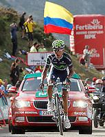Nairo Alexander Quintana under the flag of Colombia during the stage of La Vuelta 2012 between La Robla and Lagos de Covadonga.September 2,2012. (ALTERPHOTOS/Acero) /NortePhoto.com<br /> <br /> **CREDITO*OBLIGATORIO** <br /> *No*Venta*A*Terceros*<br /> *No*Sale*So*third*<br /> *** No*Se*Permite*Hacer*Archivo**<br /> *No*Sale*So*third*