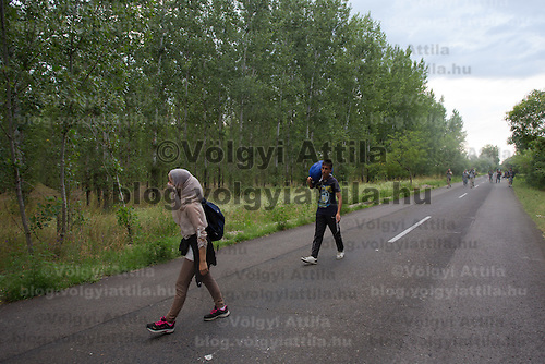 Illegal migrants from Afghanistan walk on a road near border town Asotthalom (about 190 km South-East of capital city Budapest), Hungary on July 16, 2015. ATTILA VOLGYI