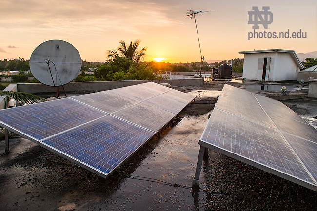 Aug. 11, 2015; Solar panels on the roof of Residence Filariose, Leogane, Haiti. (Photo by Barbara Johnston/University of Notre Dame)