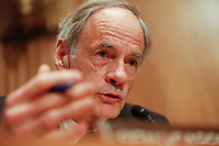 United States Senator Tom Carper (Democrat of Delaware) questions witnesses during the US Senate Committee on Homeland Security and Government Affairs hearing on April 9, 2019.<br /> Credit: Stefani Reynolds / CNP/AdMedia