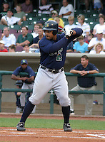 August 30, 2003:  Prince Fielder of the Beloit Snappers, Class-A affiliate of the Milwaukee Brewers, during a Midwest League game at Fifth Third Field in Dayton, OH.  Photo by:  Mike Janes/Four Seam Images