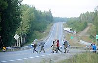 Dipnetters cross Knik-Goose Bay Road in Wasilla to access Fish Creek.