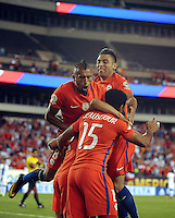 Philadelphia, PA - Tuesday June 14, 2016: Alexis Sanchez celebrates scoring with teammates  during a Copa America Centenario Group D match between Chile (CHI) and Panama (PAN) at Lincoln Financial Field.