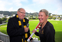 Keith Quinn and Liz Perry. Mary Potter Charity Fundraiser photoshoot at the Basin Reserve in Wellington, New Zealand on Monday, 6 May 2019. Photo: Dave Lintott / lintottphoto.co.nz