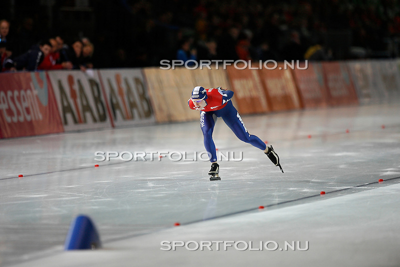 Duitsland, Berlijn, 9 februari 2008 .WK schaatsen allround 2008  .Ireen Wust van Nederland in actie op de 3000 meter.