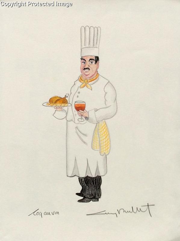 &quot;Coq au Vin&quot; 11x14 ORIGINAL Watercolor on Paper<br /> $1,750