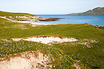 Machair grassland and sandy beach at Bagh a Deas, South Bay, Vatersay island, Barra, Outer Hebrides, Scotland, UK