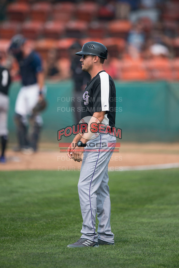 Grand Junction Rockies manager Jake Opitz (3) during a Pioneer League game against the Helena Brewers at Kindrick Legion Field on August 19, 2018 in Helena, Montana. The Grand Junction Rockies defeated the Helena Brewers by a score of 6-1. (Zachary Lucy/Four Seam Images)