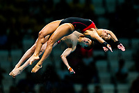 Picture by Rogan Thomson/SWpix.com - 15/07/2017 - Diving - Fina World Championships 2017 -  Duna Arena, Budapest, Hungary - Meaghan Benfeito and Nathan Zsombor-Murray of Canada compete in the Mixed 10m Synchro Platform Final.