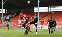 Blackpool's Liam Feneney and Bradford City's Nat Knight-Percival<br /> <br /> Photographer Rachel Holborn/CameraSport<br /> <br /> The EFL Sky Bet League One - Blackpool v Bradford City - Saturday September 8th 2018 - Bloomfield Road - Blackpool<br /> <br /> World Copyright &copy; 2018 CameraSport. All rights reserved. 43 Linden Ave. Countesthorpe. Leicester. England. LE8 5PG - Tel: +44 (0) 116 277 4147 - admin@camerasport.com - www.camerasport.com